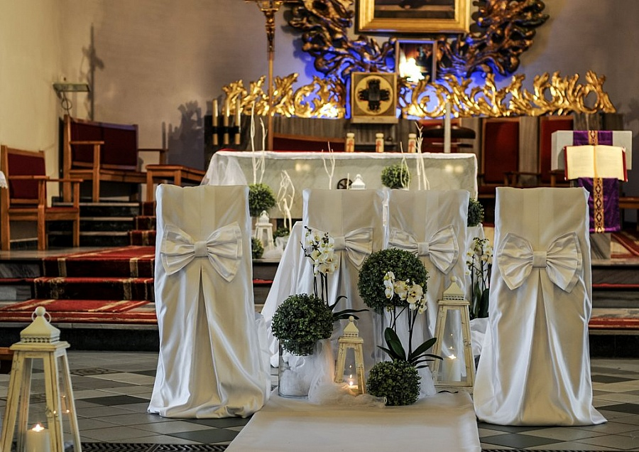 Modernistyczne Dekoracje ślubne kościoła - Kwiaciarnia Ismena GA02